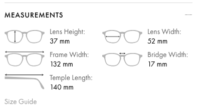 All frames at GlassesGallery.com includes frame size measurements